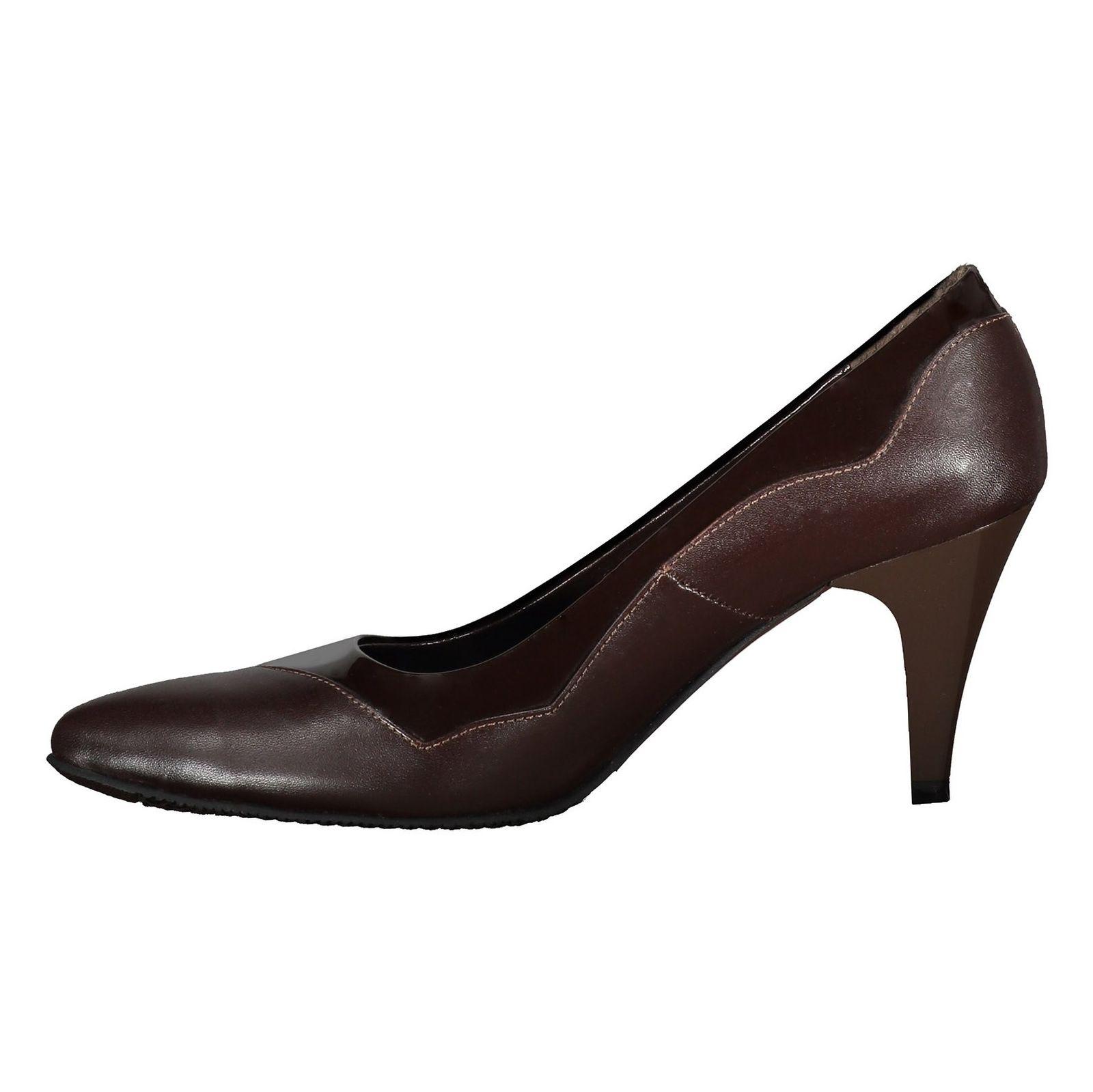 کفش پاشنه بلند چرم زنانه - شهر چرم - قهوه اي - 3