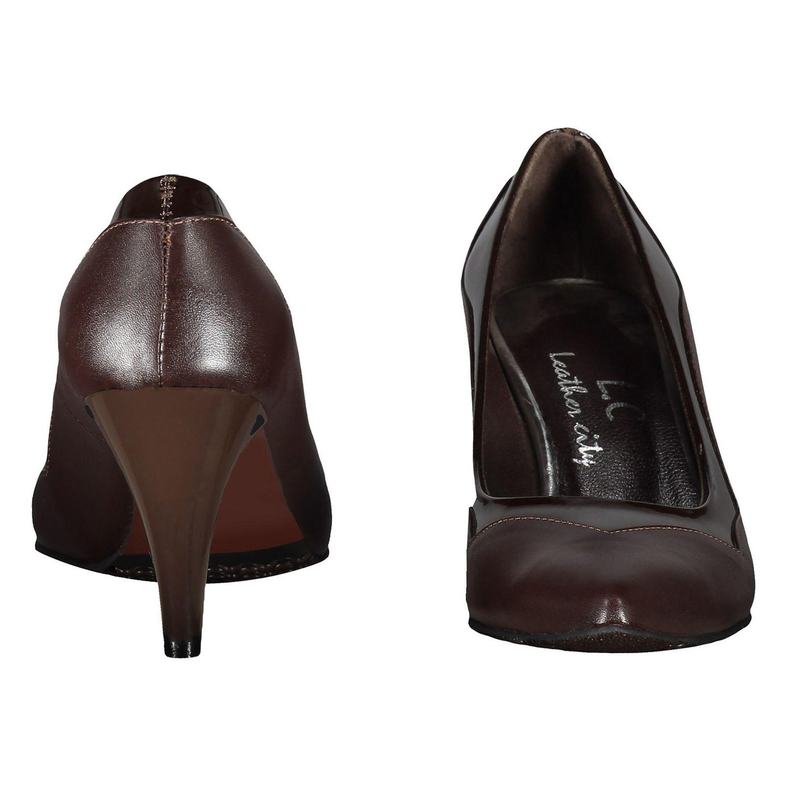 کفش پاشنه بلند چرم زنانه - شهر چرم - قهوه اي - 5