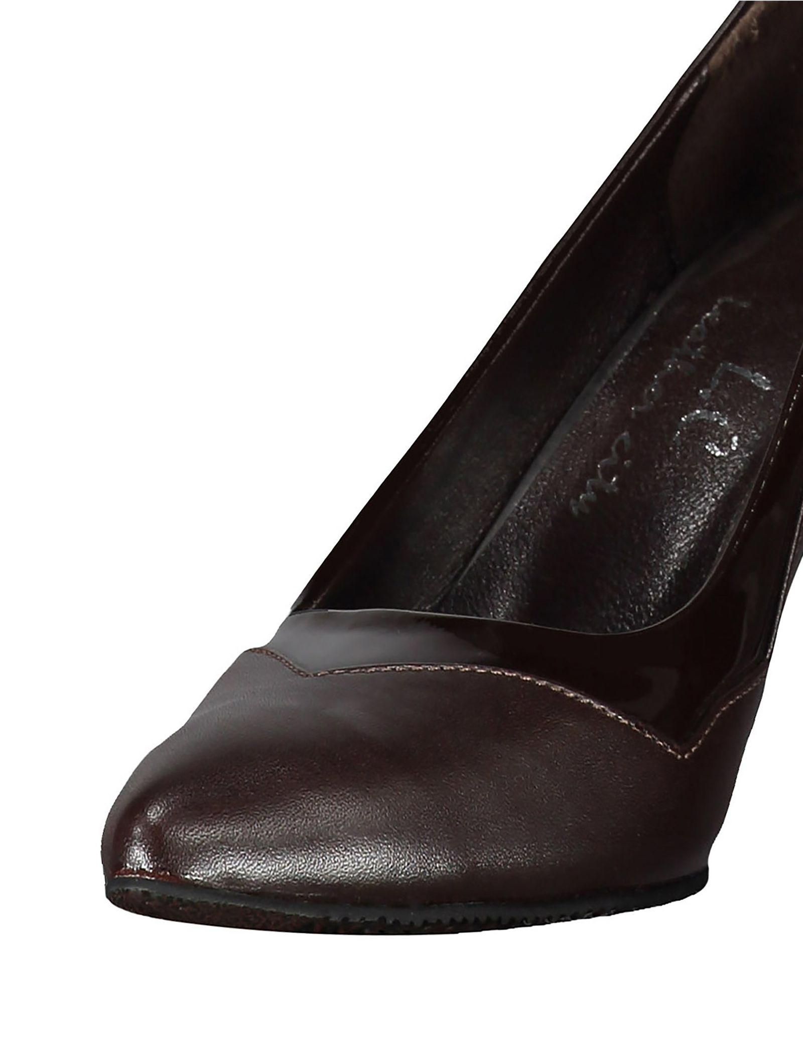 کفش پاشنه بلند چرم زنانه - شهر چرم - قهوه اي - 6