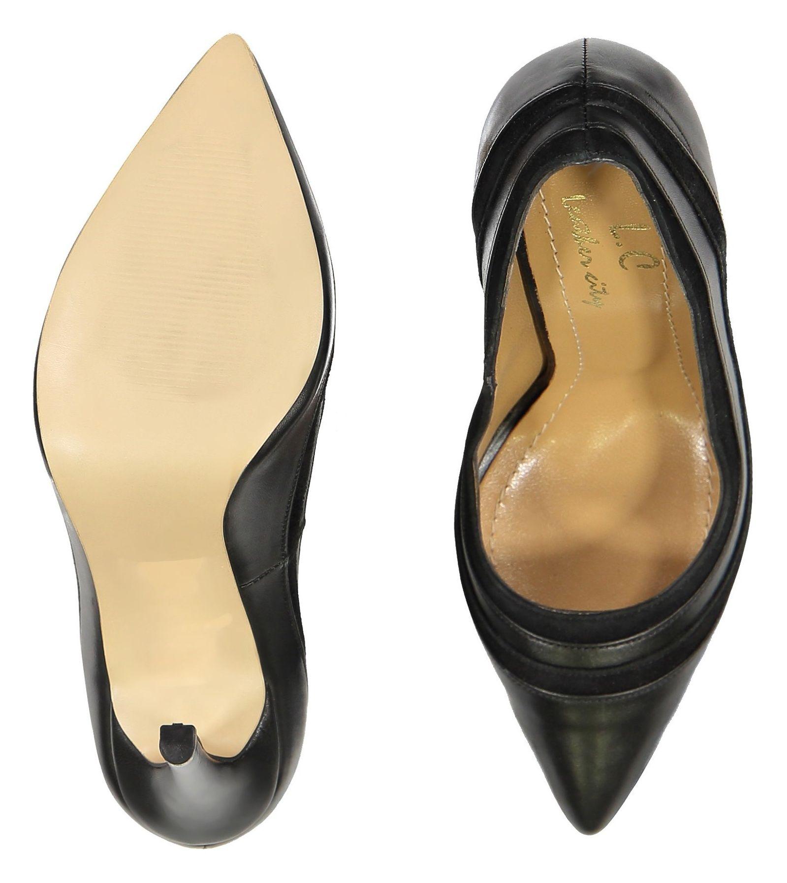 کفش پاشنه بلند چرم زنانه - شهر چرم - قهوه اي تيرهق - 2