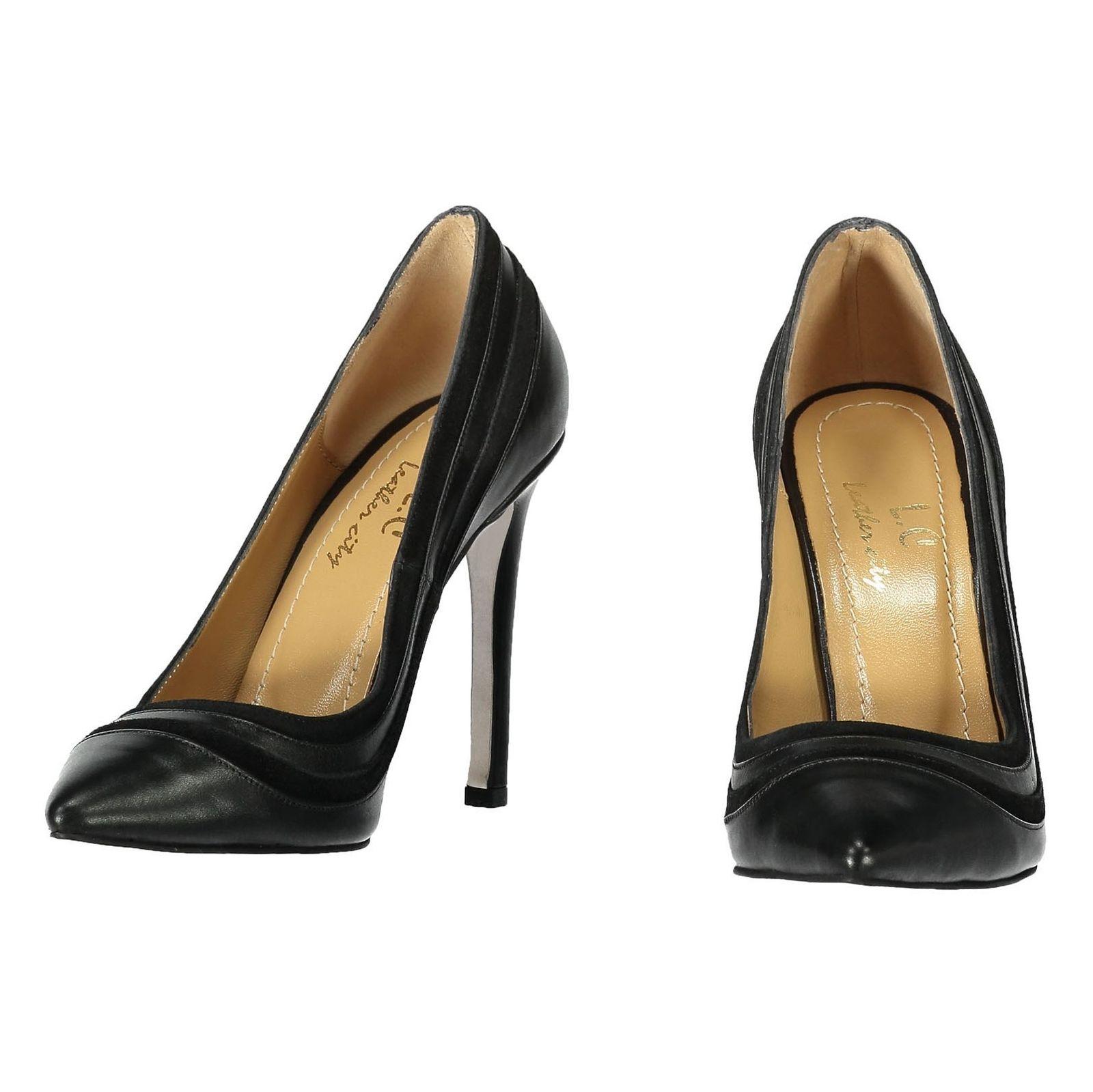 کفش پاشنه بلند چرم زنانه - شهر چرم - قهوه اي تيرهق - 4