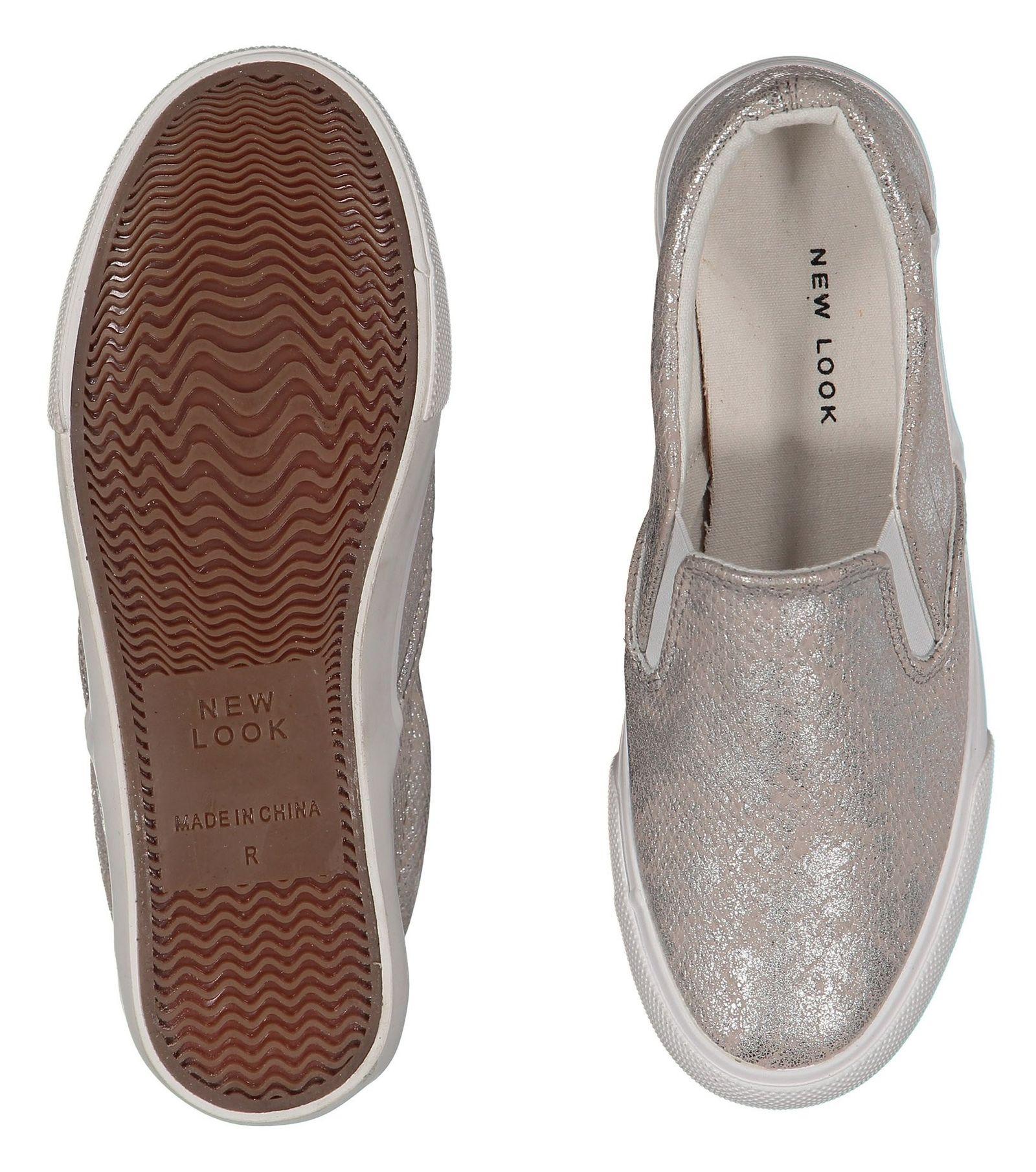کفش تخت پارچه ای زنانه - نیو لوک - نقره اي - 2