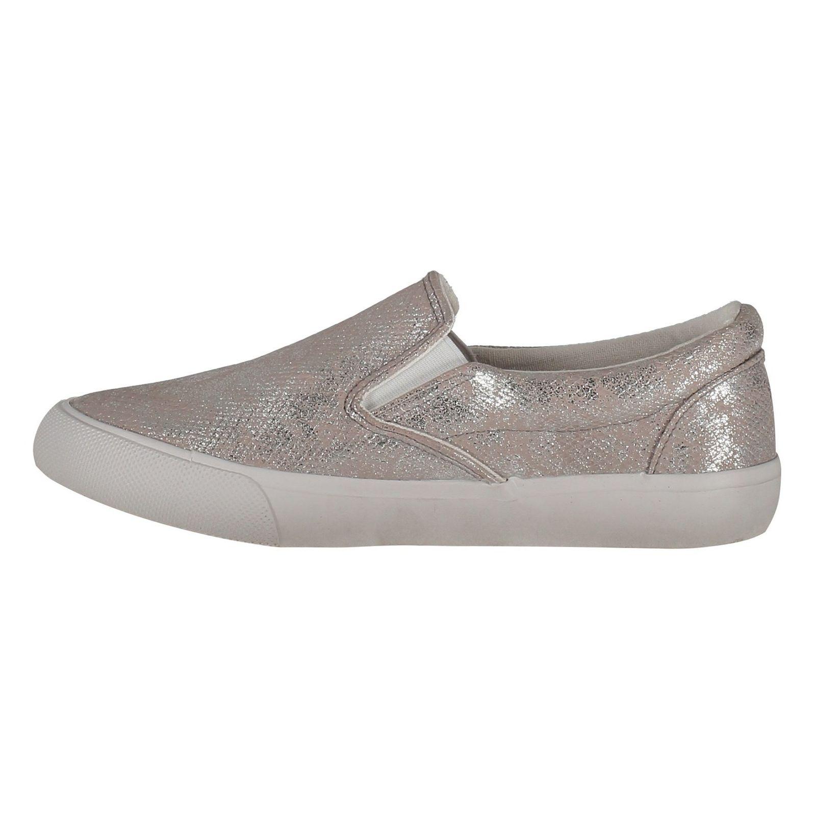 کفش تخت پارچه ای زنانه - نیو لوک - نقره اي - 3
