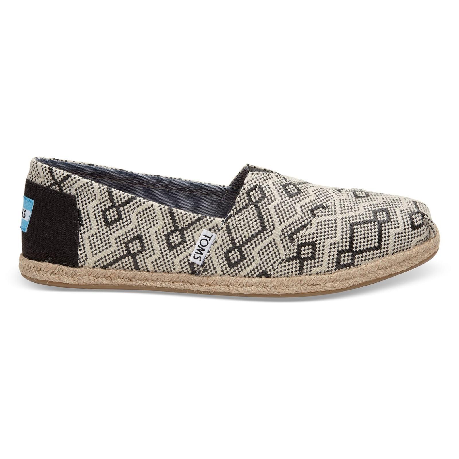کفش تخت پارچه ای زنانه - تامز - کرم و مشکي  - 1