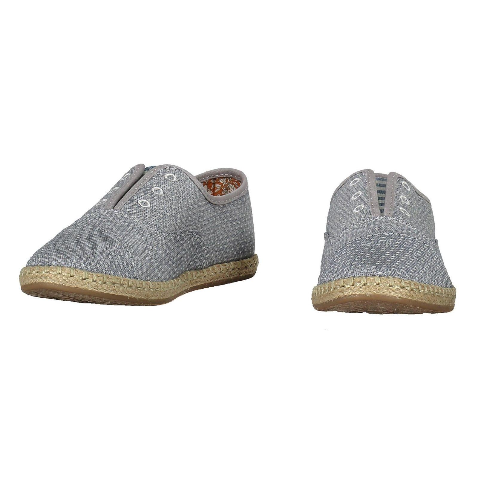 کفش تخت پارچه ای زنانه - تامز - آبي - 4