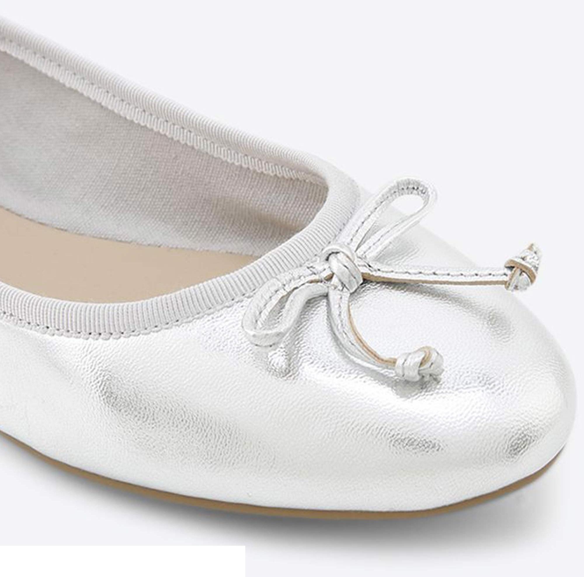 کفش تخت عروسکی چرم زنانه - آلدو - نقره اي - 4