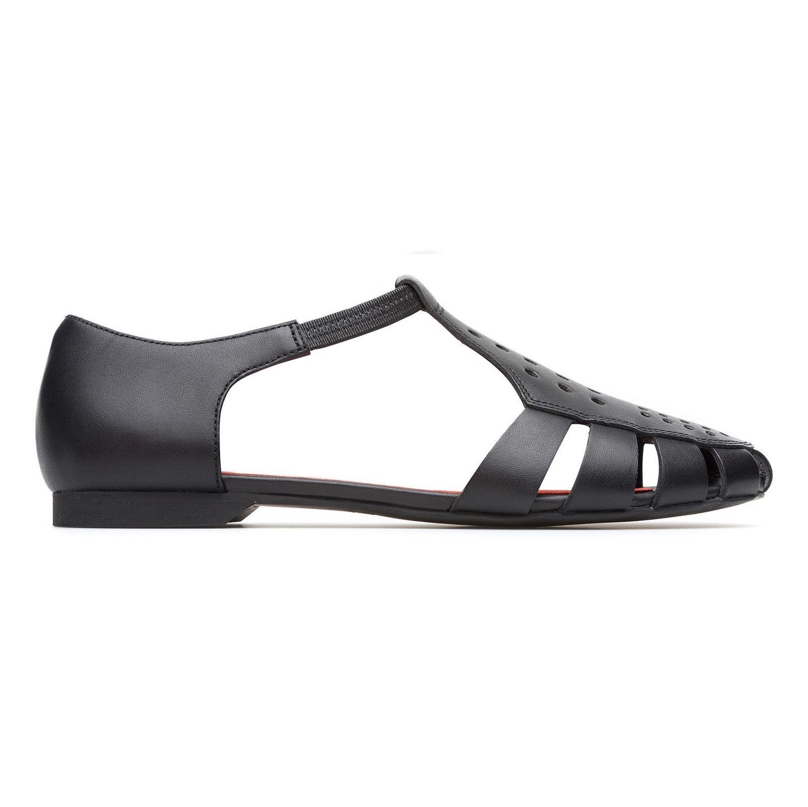 کفش چرم تخت زنانه Servolux - کمپر - مشکي - 1