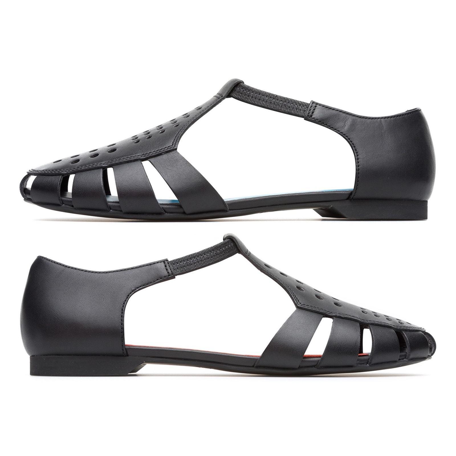 کفش چرم تخت زنانه Servolux - کمپر - مشکي - 3