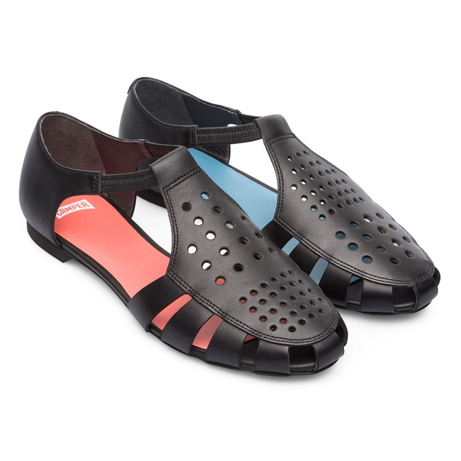 کفش چرم تخت زنانه Servolux - کمپر - مشکي - 5