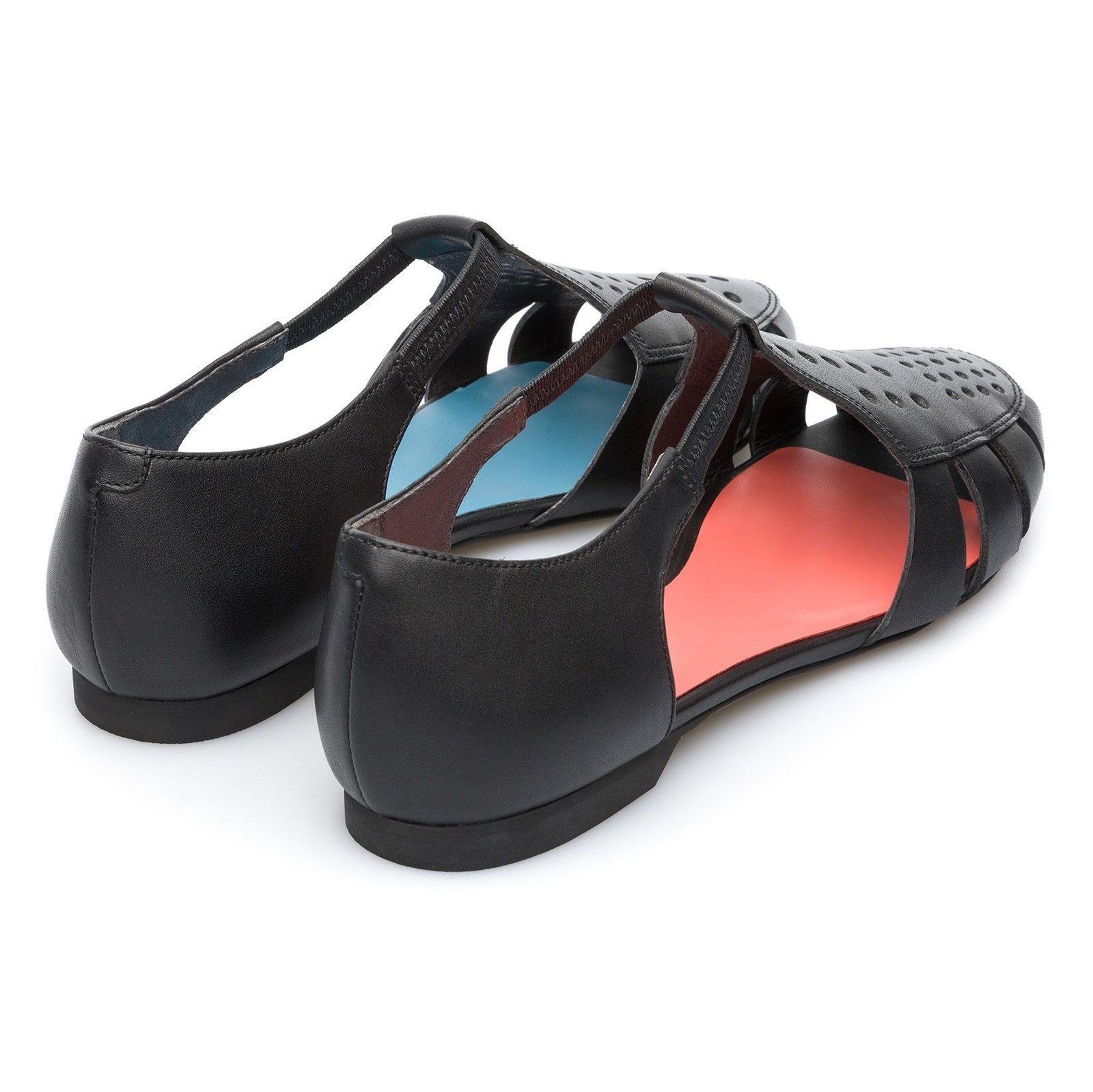 کفش چرم تخت زنانه Servolux - کمپر - مشکي - 6
