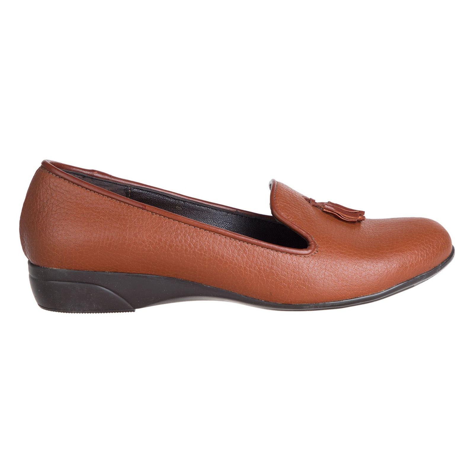 کفش تخت چرم زنانه - شیفر - عسلی - 1