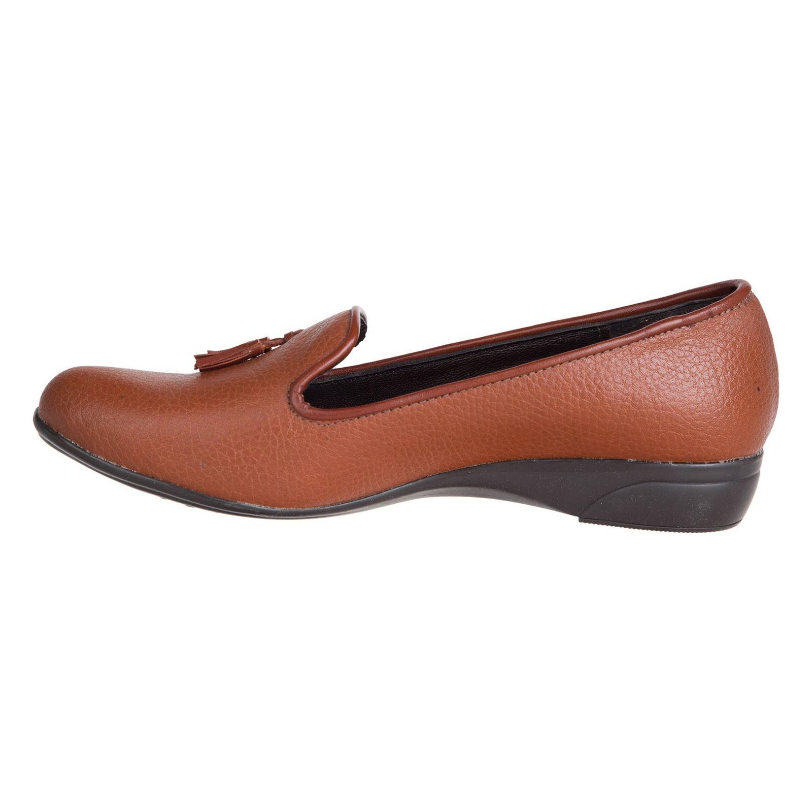 کفش تخت چرم زنانه - شیفر - عسلی - 3