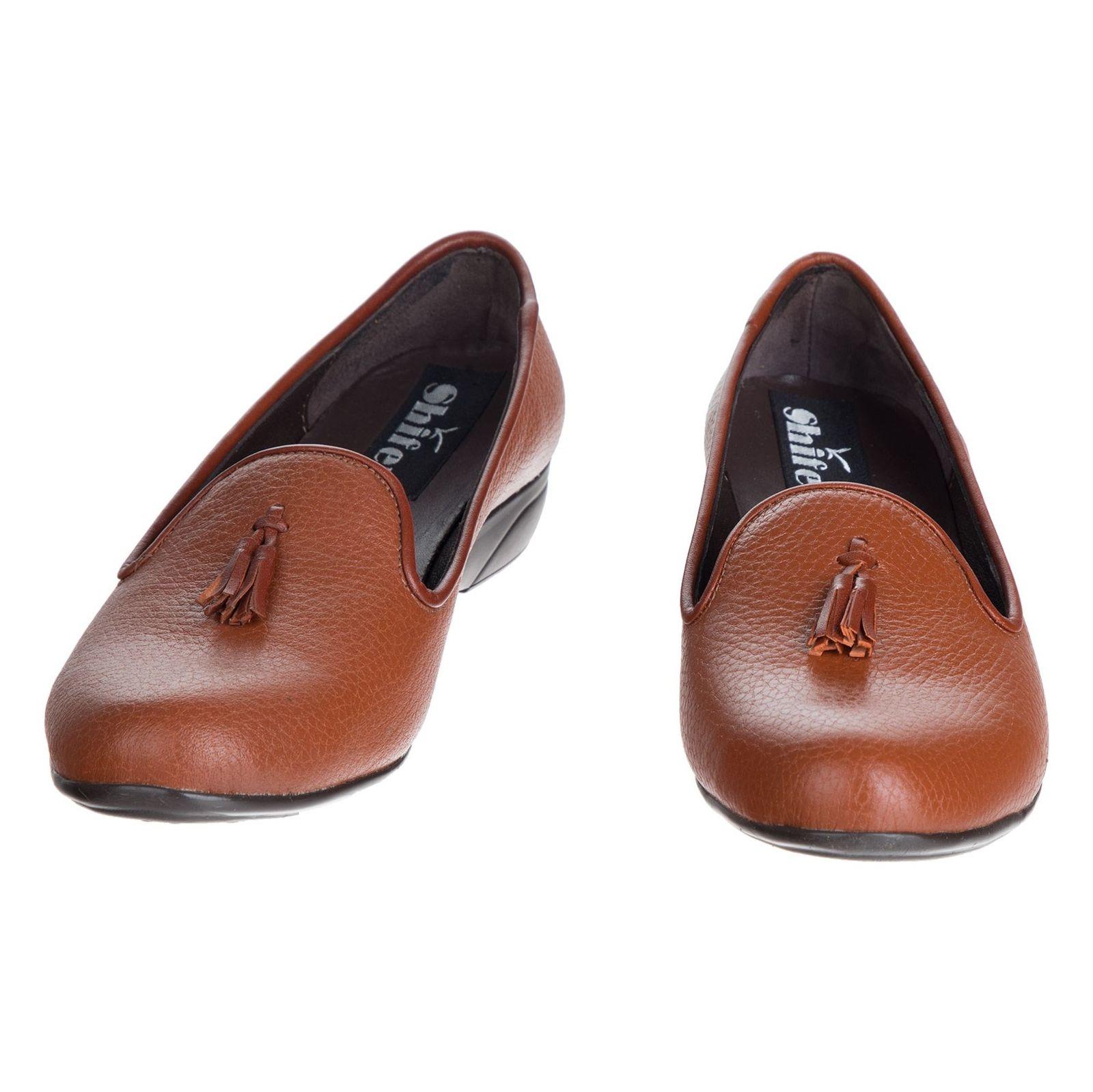 کفش تخت چرم زنانه - شیفر - عسلی - 4