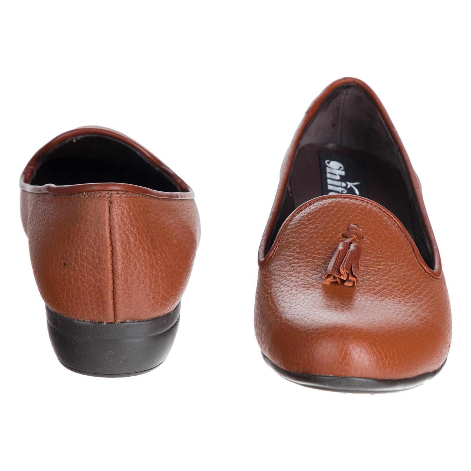کفش تخت چرم زنانه - شیفر - عسلی - 5