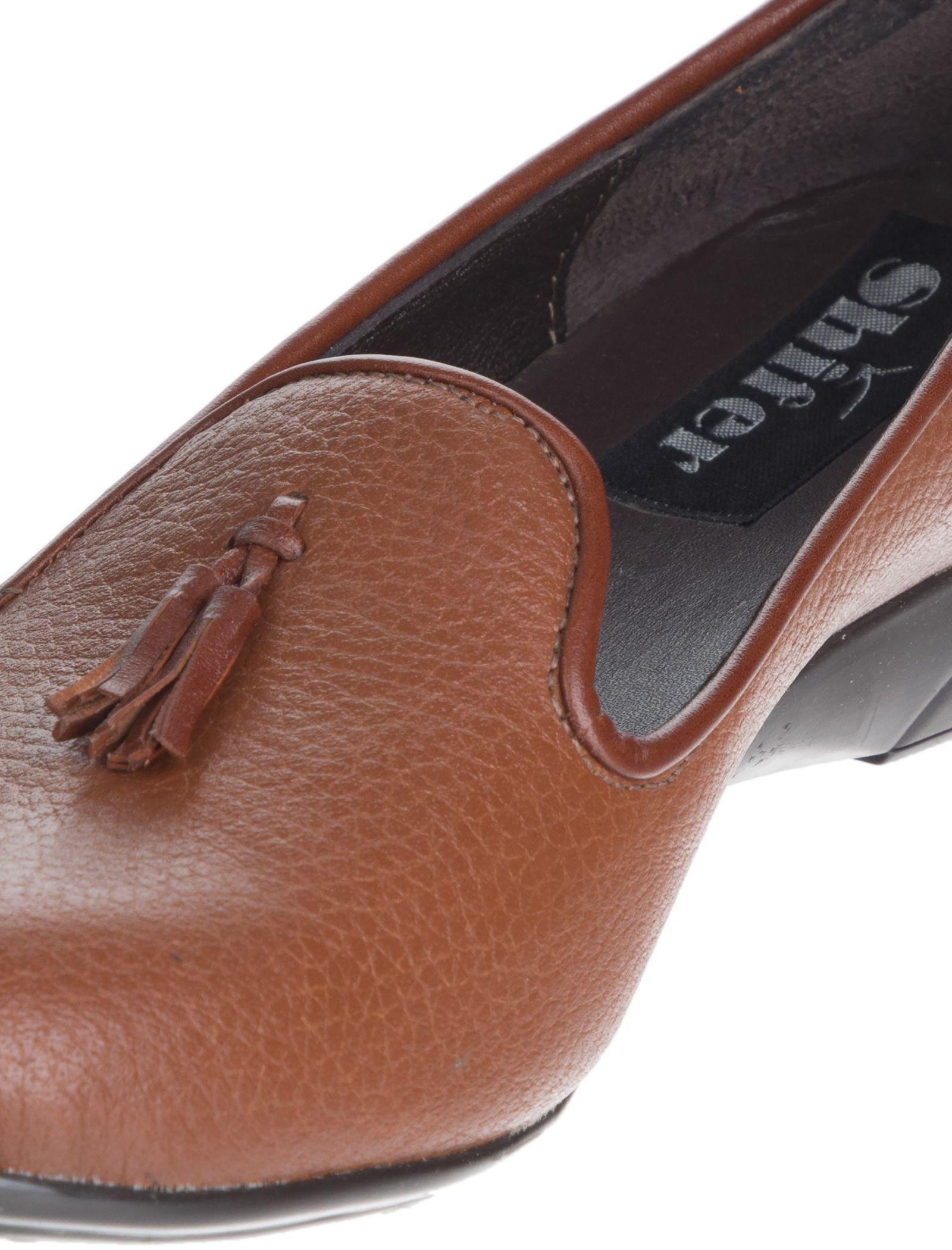 کفش تخت چرم زنانه - شیفر - عسلی - 6