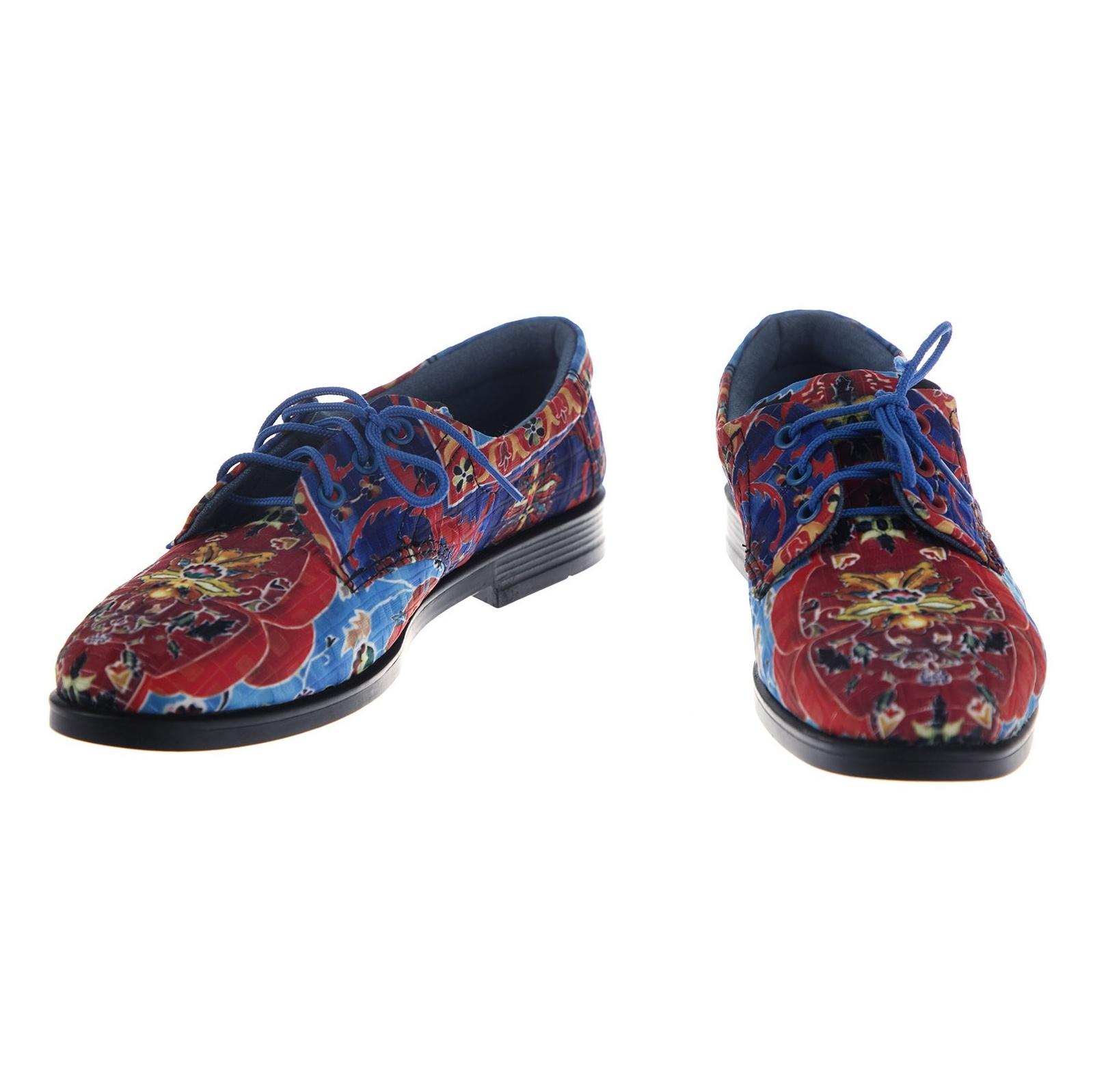 کفش تخت زنانه مدل نقاشی - مینا فخارزاده - قرمز/ آبی - 4