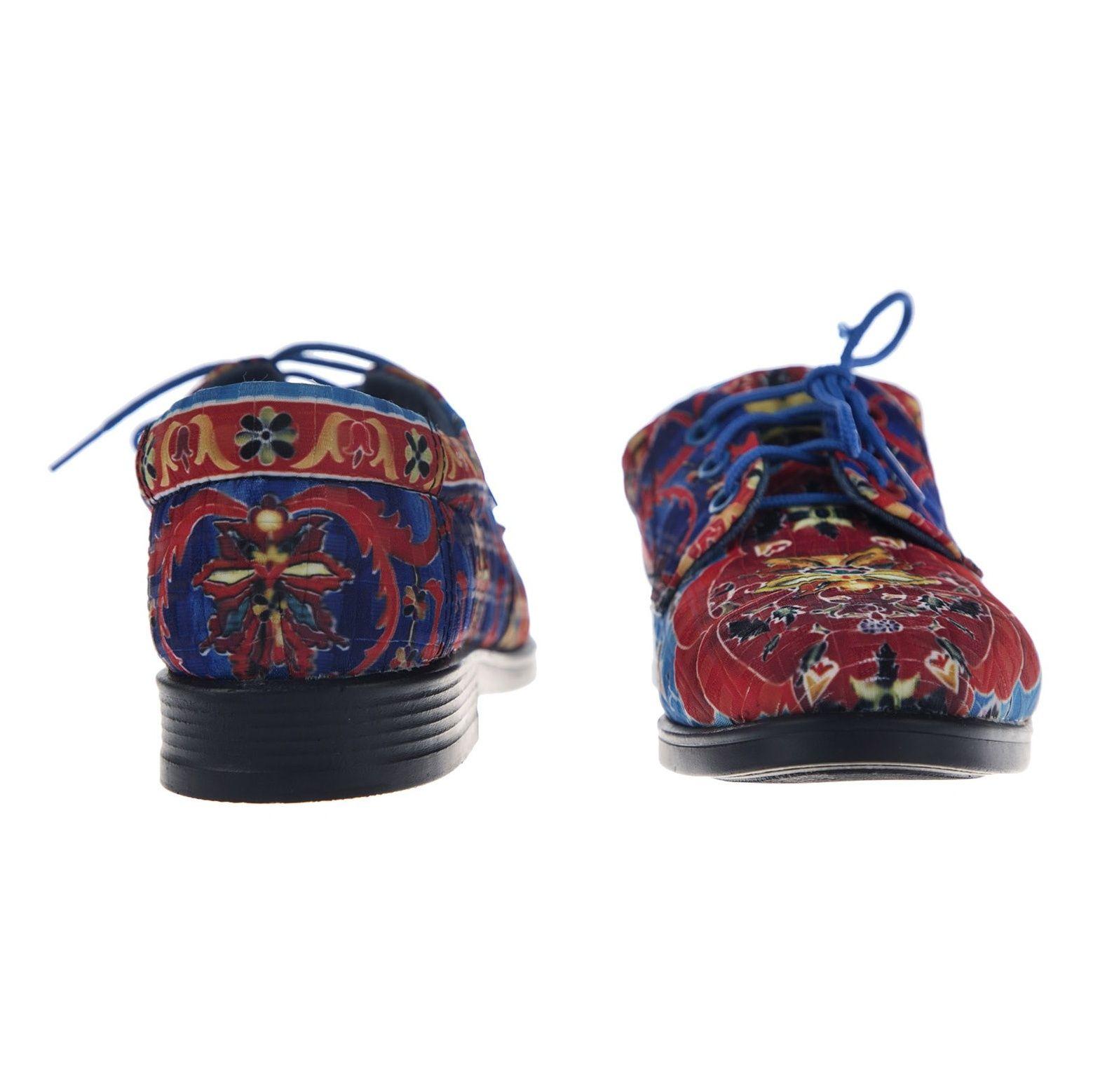 کفش تخت زنانه مدل نقاشی - مینا فخارزاده - قرمز/ آبی - 5