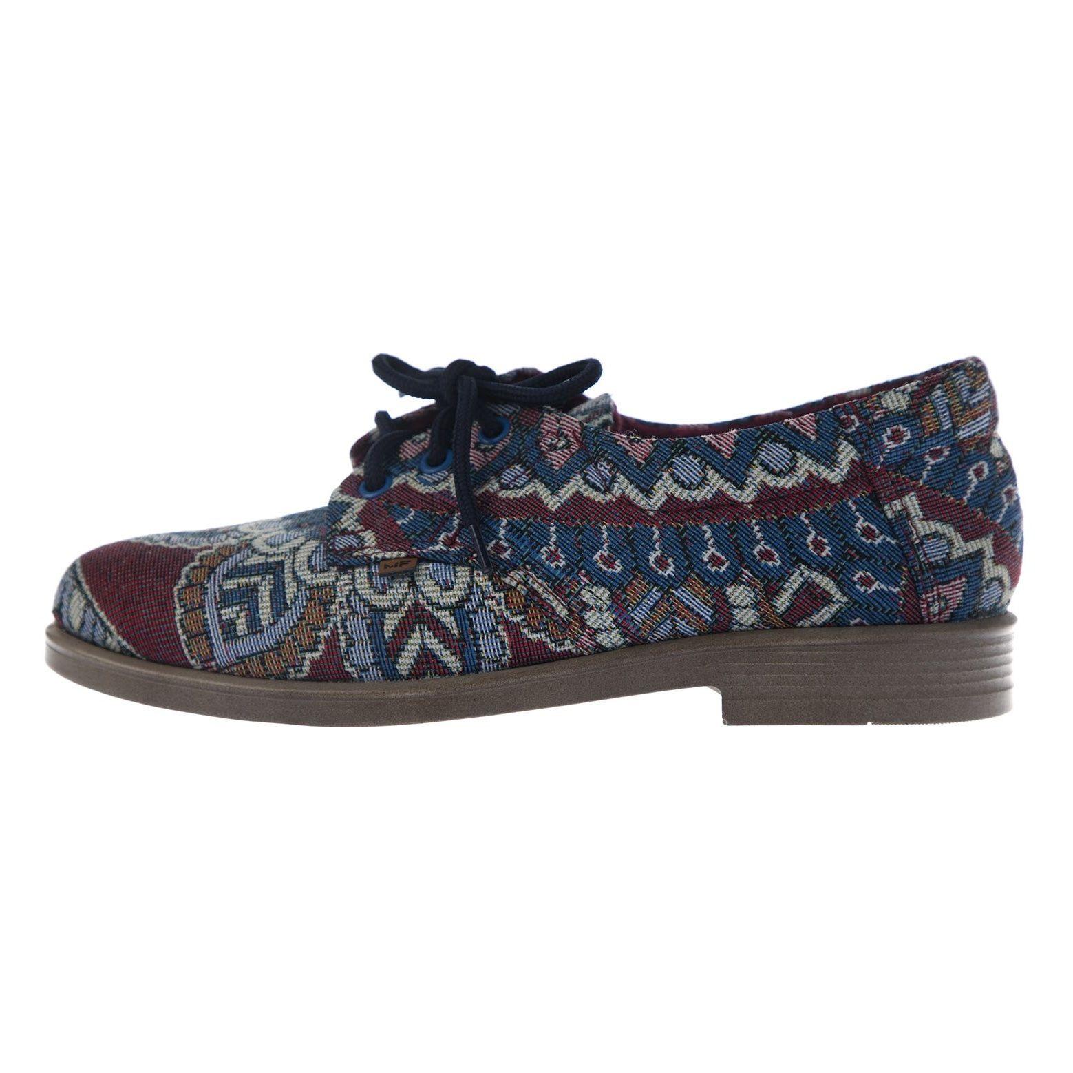 کفش تخت زنانه مدل طاووس - مینا فخارزاده - آبی / زرشکی - 3