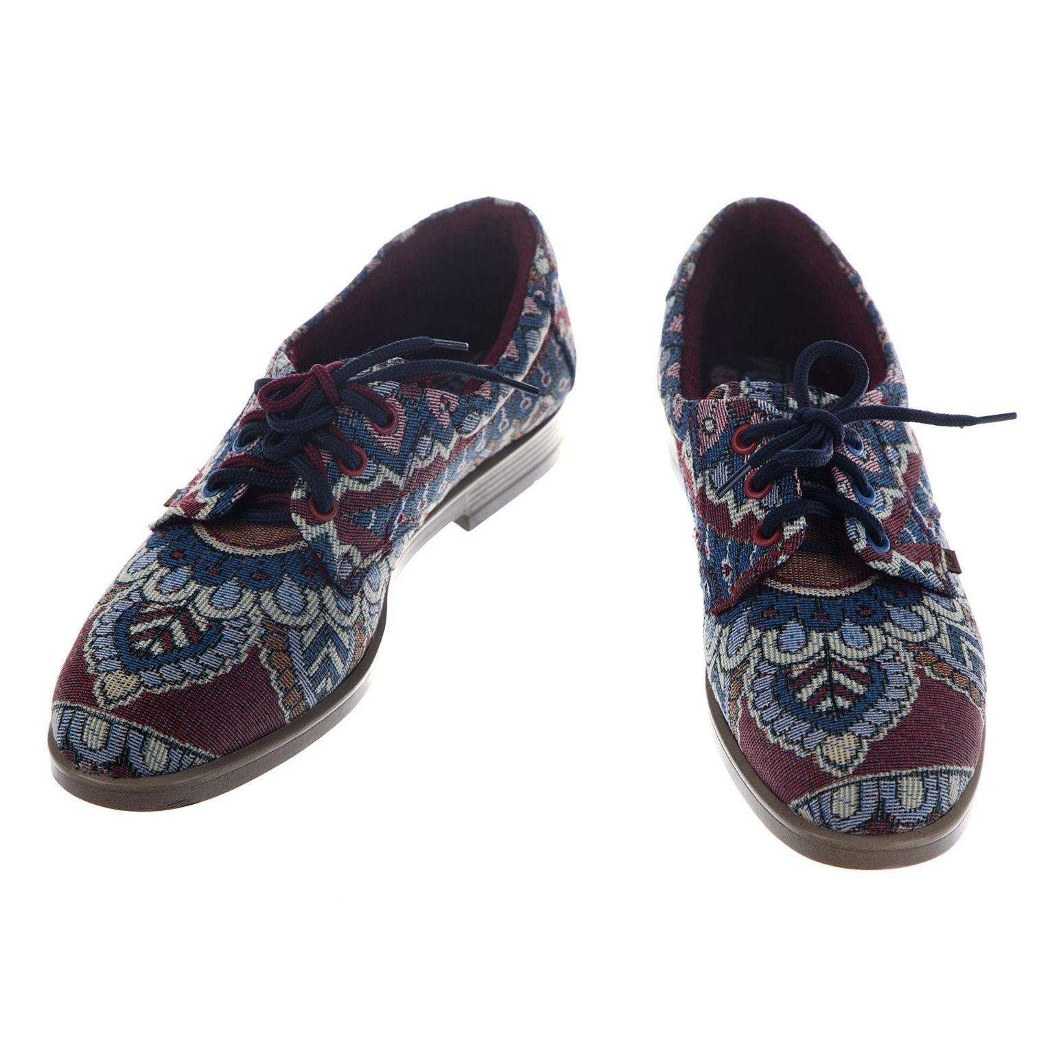 کفش تخت زنانه مدل طاووس - مینا فخارزاده - آبی / زرشکی - 4