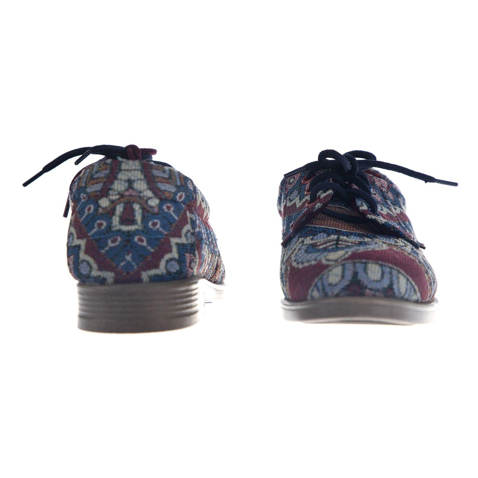 کفش تخت زنانه مدل طاووس - مینا فخارزاده - آبی / زرشکی - 5