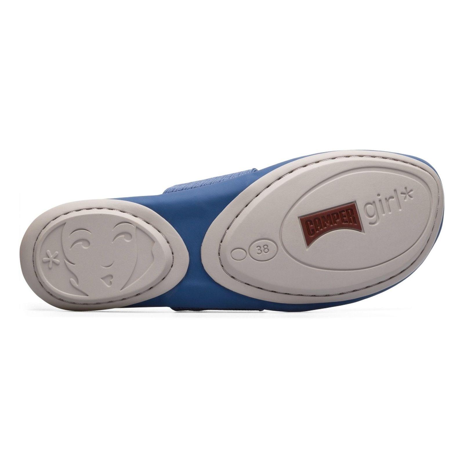 کفش تخت چرم زنانه - کمپر - آبي - 2