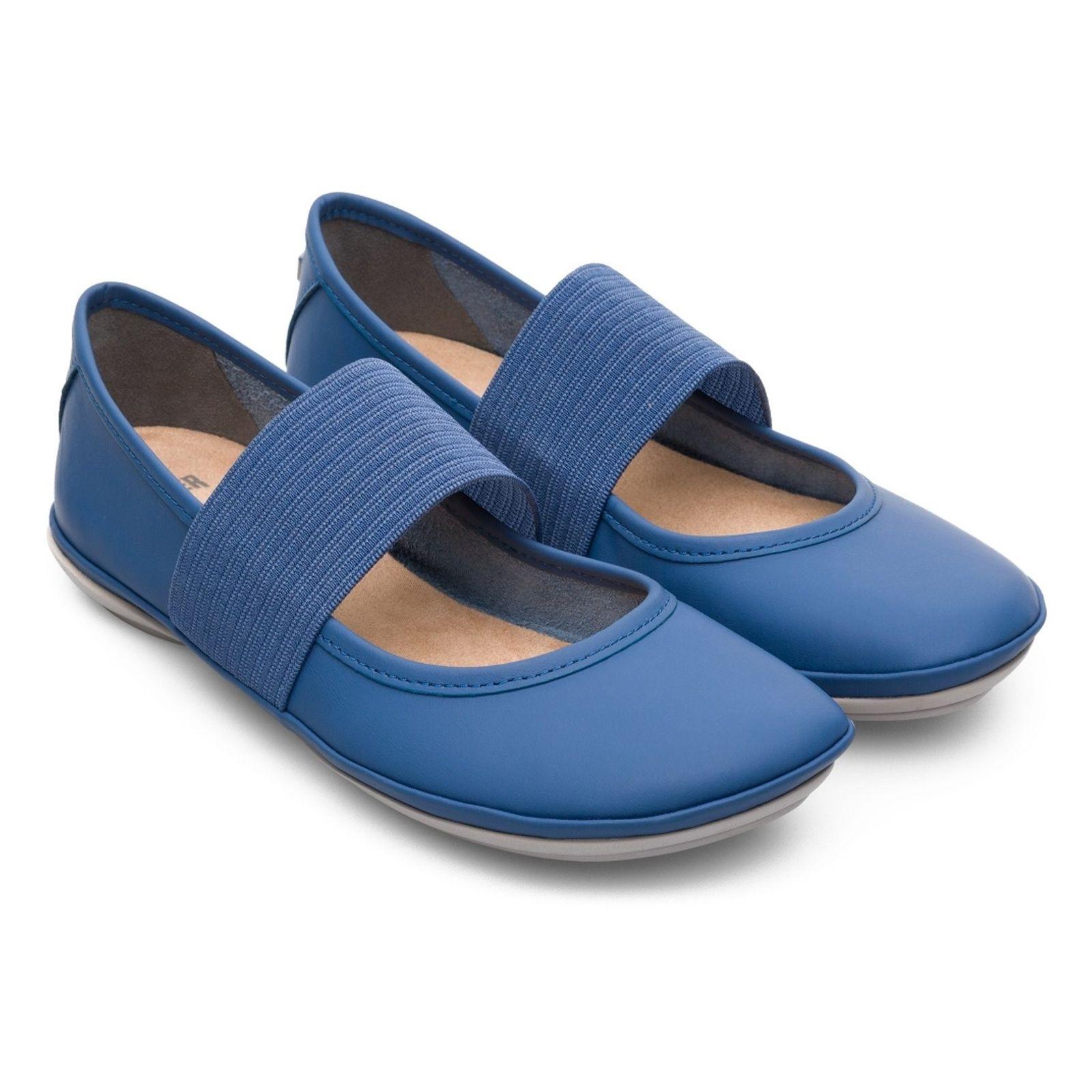 کفش تخت چرم زنانه - کمپر - آبي - 4