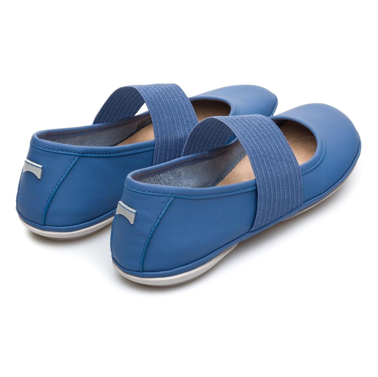 کفش تخت چرم زنانه - کمپر - آبي - 5