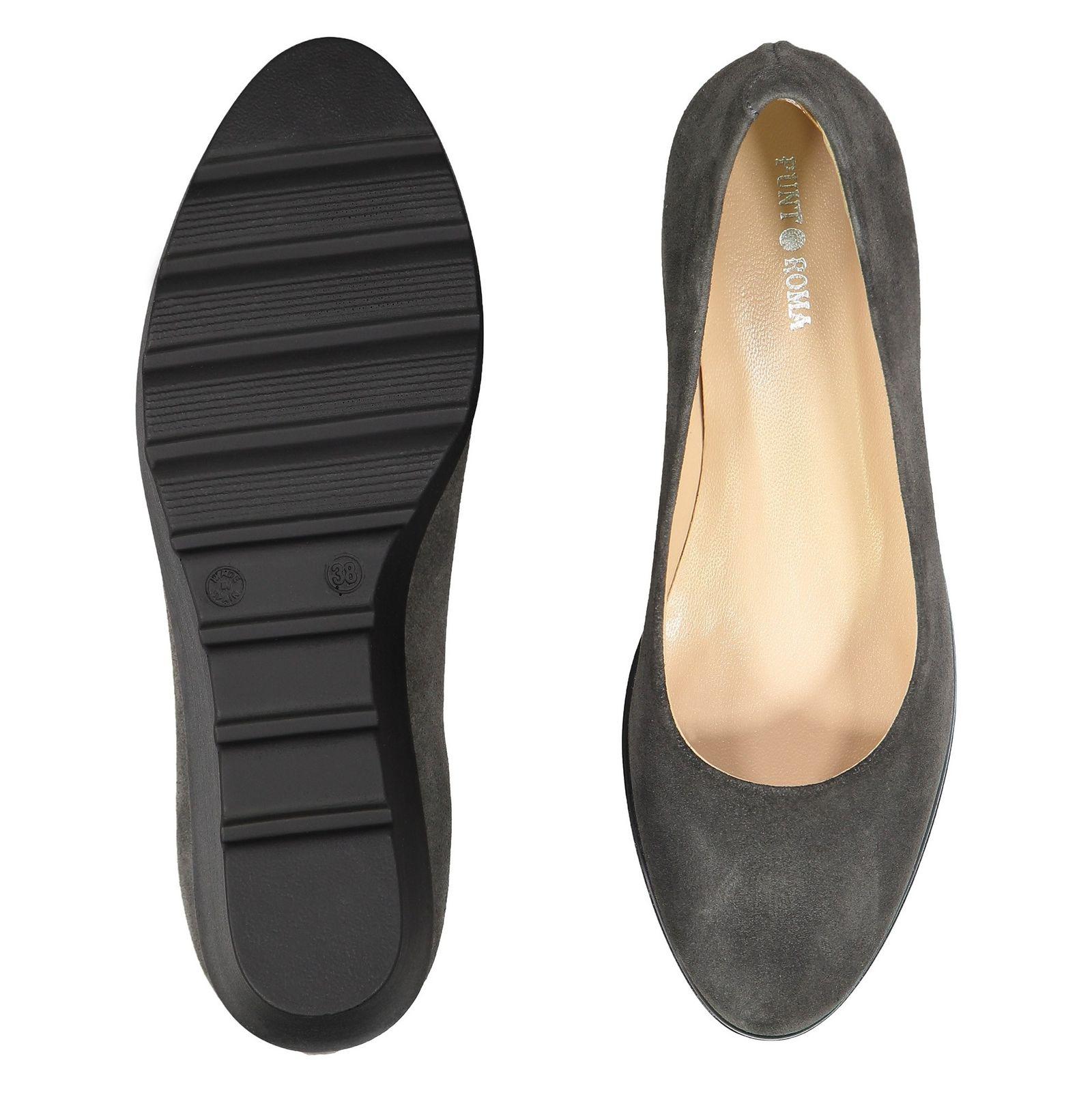 کفش جیر لژ دار چرم زنانه - پونت روما - طوسي - 2