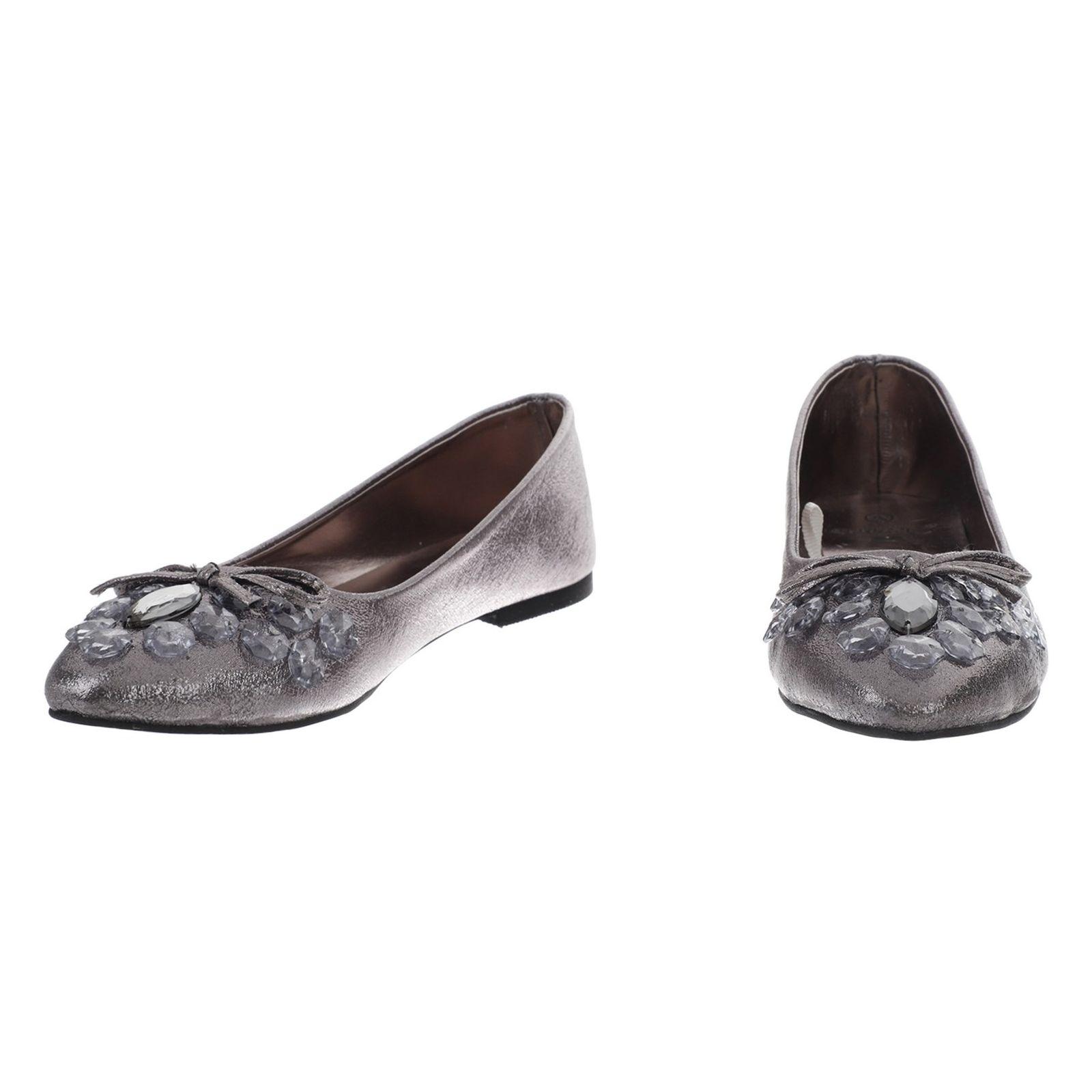 کفش تخت زنانه - دفکتو - نقراه اي براق - 4