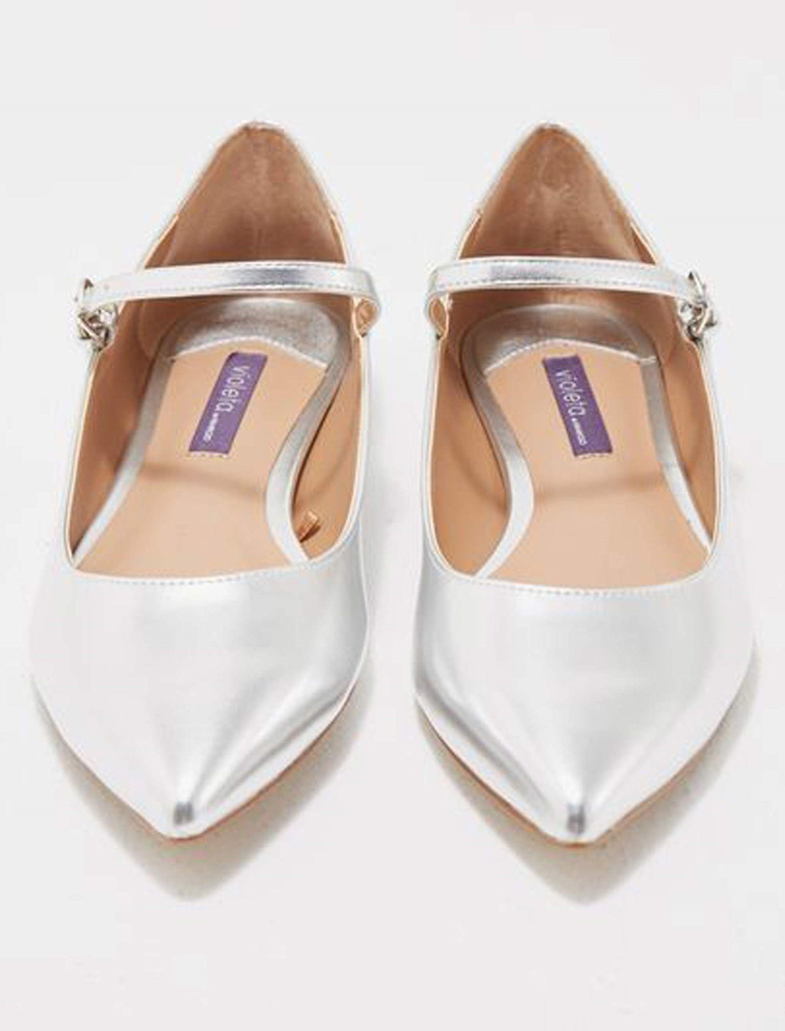 کفش تخت زنانه ویولتا بای مانگو Fani - نقرهاي - 3