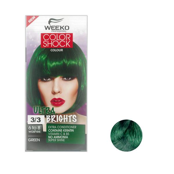 کیت رنگ مو ویکو مدل color shock شماره 3/3 حجم 80 میلی لیتر رنگ سبز