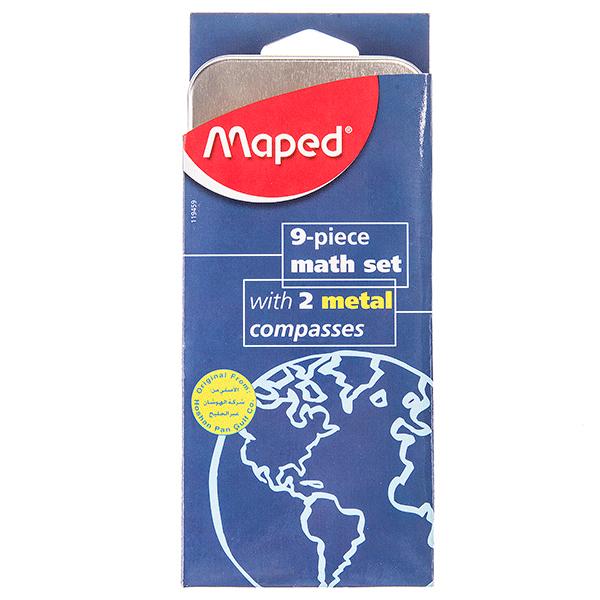ست ریاضی Maped - بسته 9 تکه همراه با دو پرگار فلزی