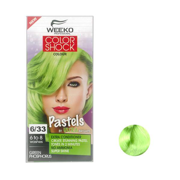 کیت رنگ مو ویکو مدل color shock شماره 6/33 حجم 80 میلی لیتر رنگ سبز فسفری