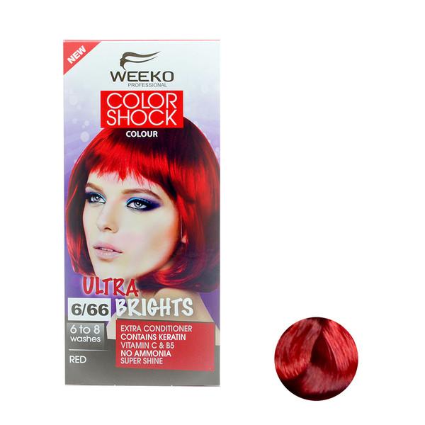 کیت رنگ مو ویکو مدل color shock شماره 6/66 حجم 80 میلی لیتر رنگ قرمز