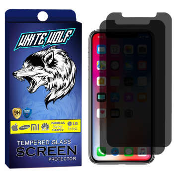 محافظ صفحه نمایش حریم شخصی وایت ولف مدل WGPS مناسب برای گوشی موبایل اپل iphone X/XS بسته 2 عددی