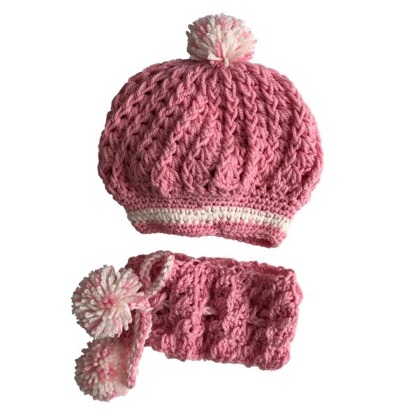 ست کلاه و شال گردن بافتنی دخترانه کد 102