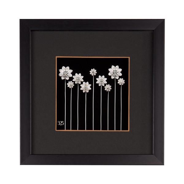 تابلو نقره طرح گل های بهاری مدل 107