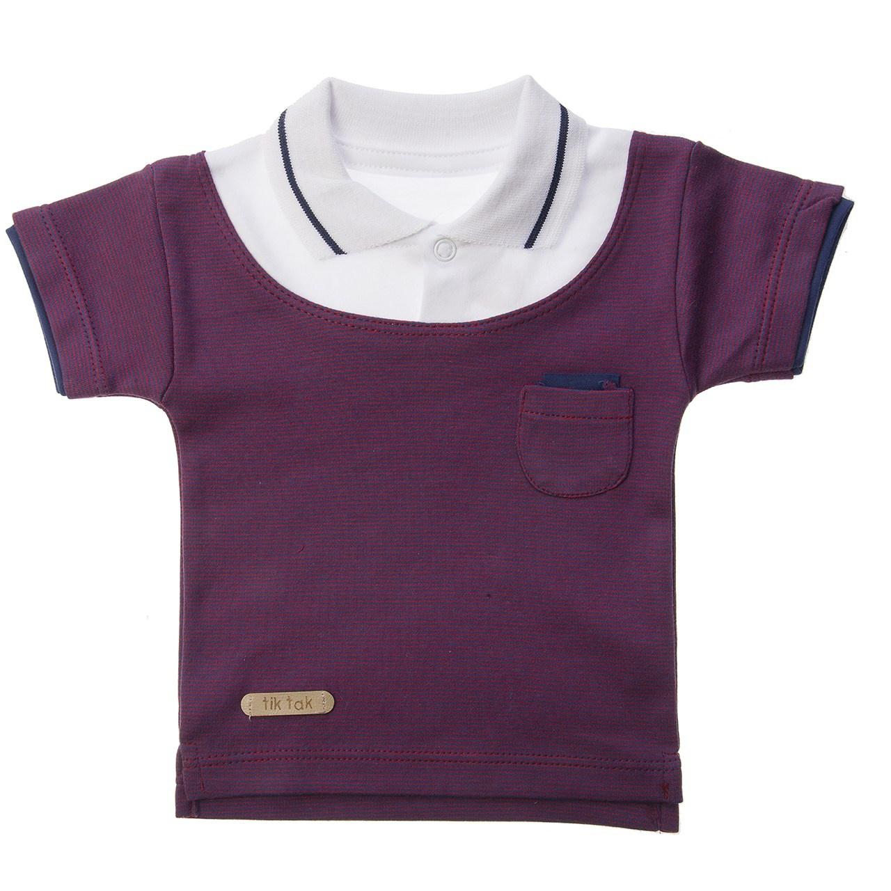 تی شرت آستین کوتاه تیک تاک طرح ژاکارد