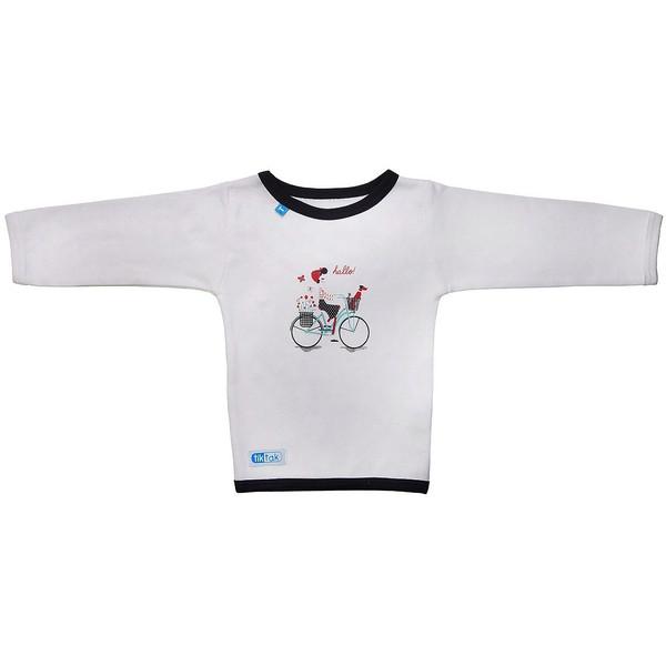 تی شرت آستین بلند تیک تاک طرح دوچرخه خالدار