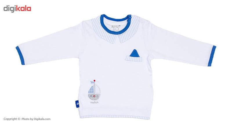 تی شرت آستین بلند نوزادی نیلی مدل Boat