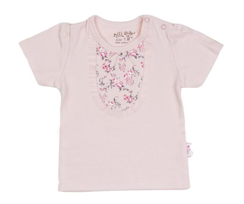 تی شرت آستین کوتاه نوزادی نیلی مدل Rose