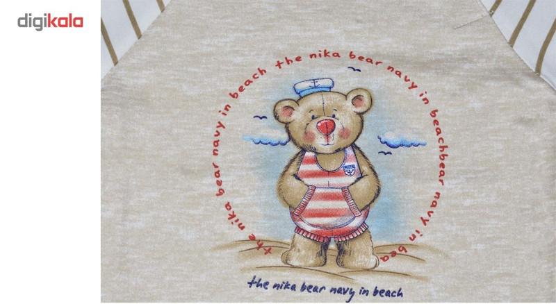 بلوز  آستین بلند نوزادی نیروان طرح خرس ملوان