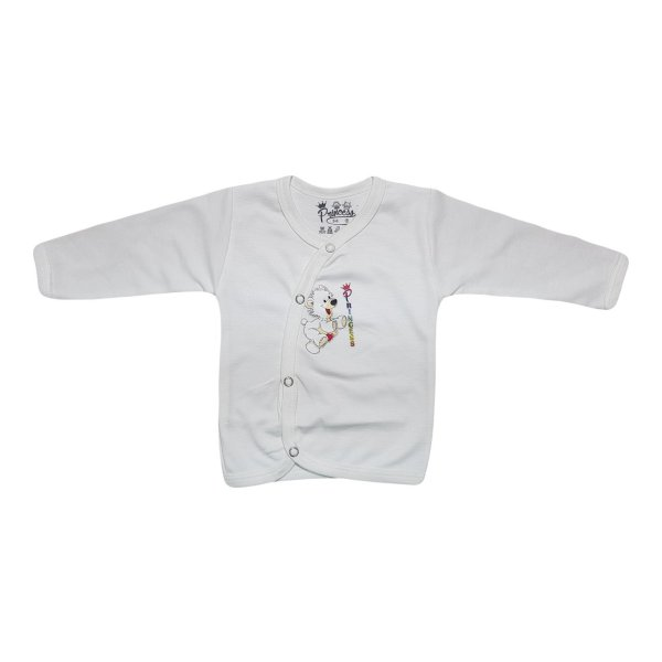 پیراهن دکمه دار آستین بلند نوزادی برند پرنسس مدل WHITE-12