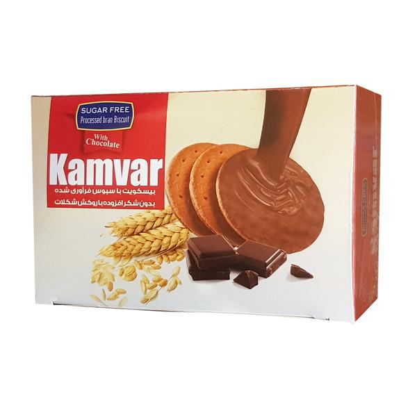 بیسکویت با سبوس فرآوری شده با روکش شکلات کامور مقدار 200 گرم