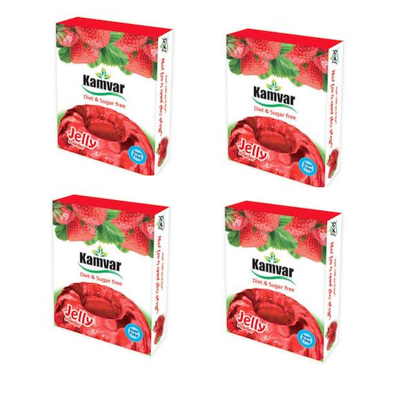 پودر ژله بدون قند با طعم توت فرنگی کامور مجموعه ۴ عددی