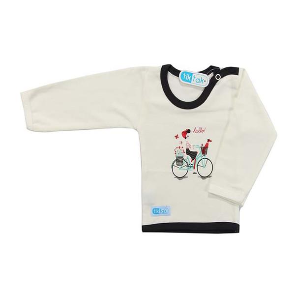 تی شرت آستین بلند نوزادی تیک تاک طرح دو چرخه خالدار