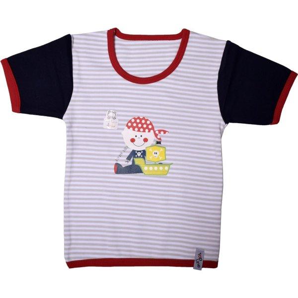 تی شرت آستین کوتاه نوزادی یقه گرد تاپ لاین طرح دزد دریایی