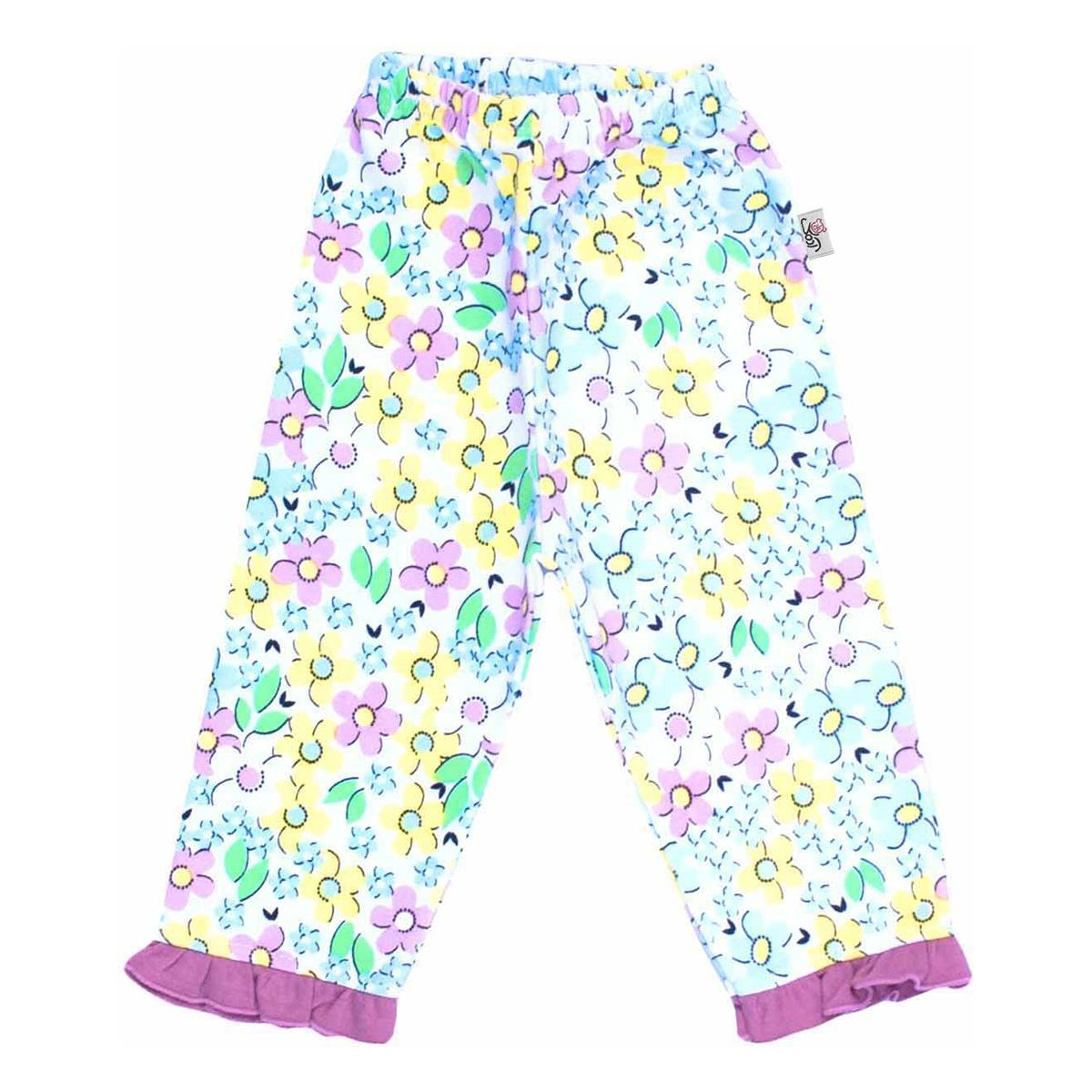 شلوار نوزادی آدمک طرح گلهای رنگارنگ کد 01