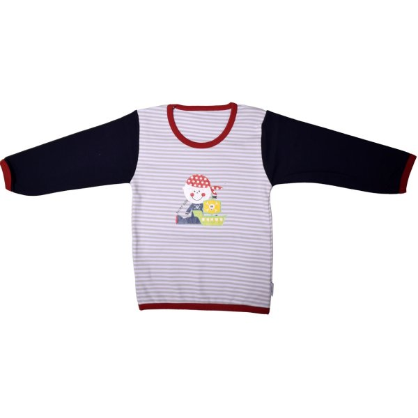 تی شرت آستین بلند یقه گرد نوزادی تاپ لاین طرح دزد دریایی