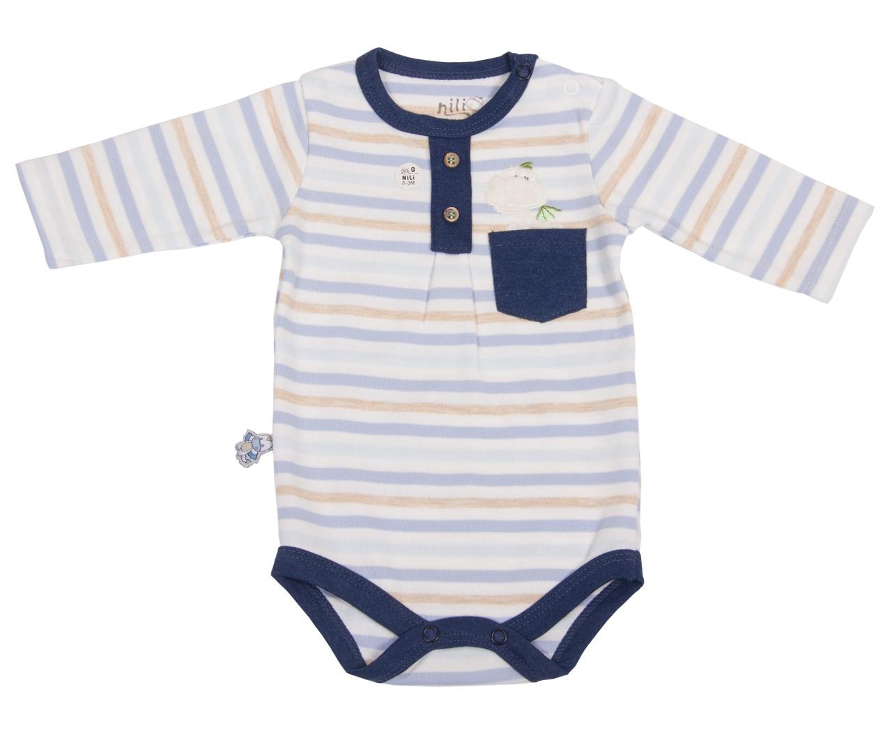 زیر دکمه دار آستین بلند نوزادی نیلی مدل دراگون 06